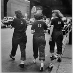 Three Girls Crossing Street (Livonia Avenue Under IRT New Lots El, East New York)