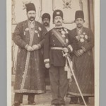Mohammad Ali Shah with Mirza Mohammad Ebrahim Khan, the Moavin al-Dowleh, and Company, One of 274 Vintage Photographs
