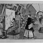 Art-Students and Copyists in the Louvre Gallery, Paris