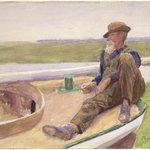 Recto: [Untitled] (Man in Boat)  Verso: [Untitled] (Beach Scene)