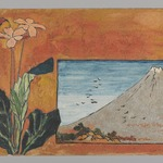 Small Card Decorated with Mount Fuji and Flowers