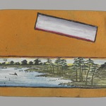 Small Card Decorated with Landscape (recto) and Stylized Chrysanthemum (verso)