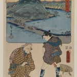 Station 32, Arai: View of the Distant Lake and the Horie Area; Identity Inspection Granny at the Lake, from the series The Fifty-three Stations by Two Brushes