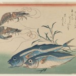 Horse Mackerel, Freshwater Prawns, and Seaweed, from an untitled series known as Selection of Fish