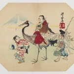 Okame Riding on a Crane, Walking with Ebisu and a Girl