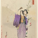 Warriors Viewing Cherry Blossoms, from the series Flowers of Japan, Illustrated