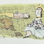 Untitled (Couple and Dog Relaxing on Grass)