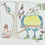 [Untitled] (Jester with Tree, Cat, Birds)