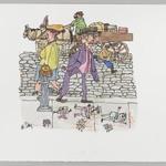 [Untitled] (Tic Tac Toe - Couple on Sidewalk, Boy and Wagon Driver)