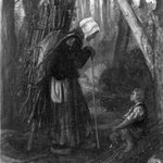 Old Woman and Boy in a Forest