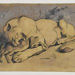 Lioness Devouring a Rabbit