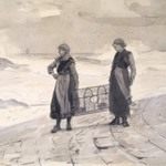 Women On Shore with Lobster Pot