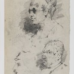 [Untitled] (Study of Heads) (recto) and [Untitled] (Study of Two Male Heads) (verso)