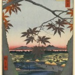 Maple Trees at Mama, Tekona Shrine and Linked Bridge, No. 94 from One Hundred Famous Views of Edo