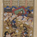 Double Page with Illustration from Shah-Namah