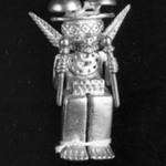 Gold Idol Seated Holding a Sceptre in Each Hand with Double Mushroom Headdress