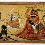 Durga Slaying the Buffalo Demon, Raktabij, and Kali Lapping up the Demons Blood, Page from a Markandeya Purana Series