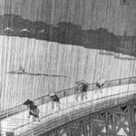 Sudden Shower over Shin Ohashi Bridge and Atake, (Ohashi Atake no yudachi) from the series, One Hundred Famous Views of Edo