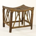 Wooden Stool with Latticework Bracing