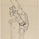 Drawing of Man Resting on Axe and Carrying Part of Tree Trunk on His Back
