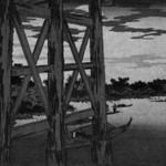 Evening Moon at Ryōgoku Bridge, from the series Famous Places in the Eastern Capital