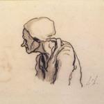 Head of an Old Woman in Profile (Tête de vieille femme de profil à gauche) [recto]; Study of Heads (Étude de têtes) [verso]