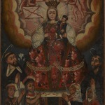 The Virgin Mary with Christ Child, Saint Dominic, Saint Francis, and Indigenous Worshippers