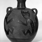 Jar with Small Looped Handles and Feline Design
