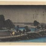 Night Rain at Azuma-no-mori, from the series Eight Views in the Environs of Edo