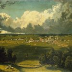 Panoramic Landscape with a View of a Small Town