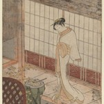 Courtesan in Night Attire Standing on a Verandah