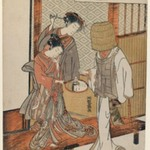 Courtesan and Kamuro Looking at the Face of a Komusō Reflected in a Mirror