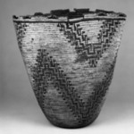 Imbricated Basket with zig-zag stripe designs