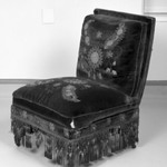 Upholstered Slipper Chair, Aesthetic Movement style with Moorish style embroidery (Rockefeller Room)