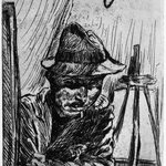 Self-Portrait with Hat at Drawing Board, by Gaslight (Selbstbildnis mit Hut beim Zeichenbrett, mit Gaslicht)