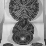 Coiled Dish-shaped Basket with Geometric Decorations