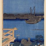 Moonlight View of Tsukuda with Lady on a Balcony, from the series Fashionable Genji