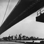 New York Harbor, Brooklyn Bridge Spanning the East River as Seen from Pier on Manhattan Side, November 1946