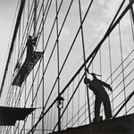 New York Harbor, Painters at Work on the Brooklyn Bridge, November, 1946