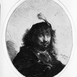 Rembrandt with Plumed Cap and Lowered Sabre