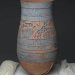 Blue-Painted Vase with Marsh Scene