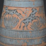 Blue-Painted Vase with Marsh Scene