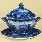 "Gravy Bowl with Lid, ""Passaic Falls, State of New Jersey"""