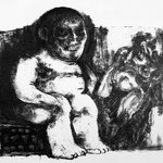 Untitled (Seated Female Nude and One Male Figure in Background)