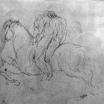 Three Figures on Horseback