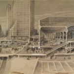 Sectional View Showing Traffic Facilities at the Brooklyn Bridge in Connection with Proposed Manhattan Terminal ...