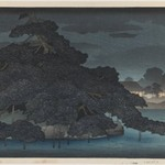 Evening Rain on the Pine Island, from an untitled series of views of Mitsubishi Villa in Fukagawa