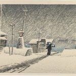 Snow at Tsukijima, from the series Twelve Scenes of Tokyo