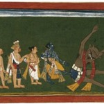 "Rama Kicks the Body of Dundubhi, page from an illustrated manuscript of the Ramayana (the ""Shangri"" Ramayana)"