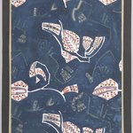 (Semi-abstract Floral Designs - White on Navy Blue Background)